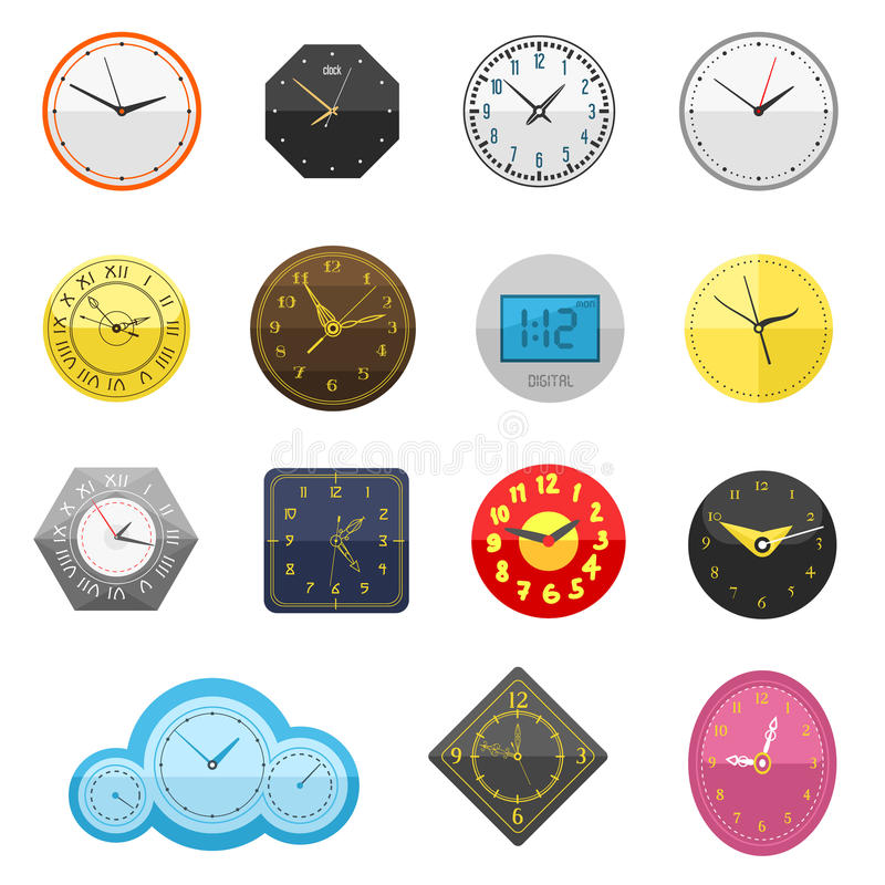 Clock face watch vector illustration. Clocks face dial watch alarm vector illustration. Clock face icon on white background. Clocks, watch silhouette. Old, retro royalty free illustration