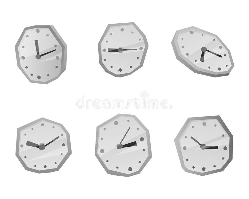 Clock face watch vector illustration. Clock face dial watch alarm vector illustration. Clock face icon isolated on white background. Clock, watch silhouette. Old stock illustration