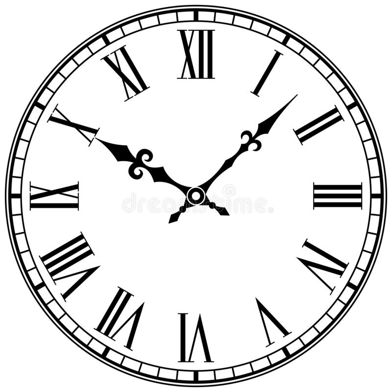 Free Clock Face With Roman Numerals. Stock Image - 195938501