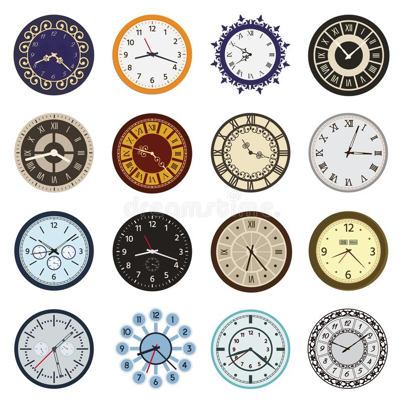 Clock faces different design circle and arrows numbers index watch clockwise arrows numbers dial-face vector. Illustration. Measurement pointer circle clockwork stock illustration