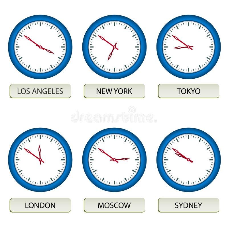 Clock faces - timezones. Illustration for the web stock illustration