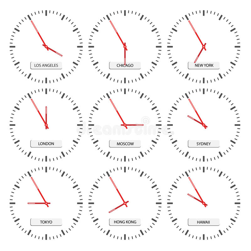 Clock faces - timezones. Illustration for the web royalty free illustration