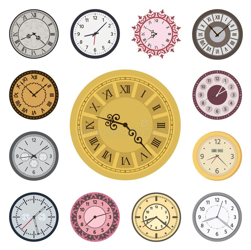 Clock faces vintage modern parts index watch clockwise arrows numbers dial-face vector illustration stock illustration