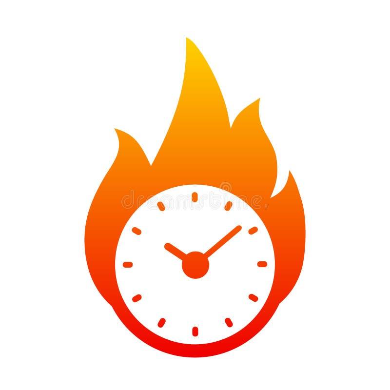 Clock in fire. Time logo - vector stock illustration