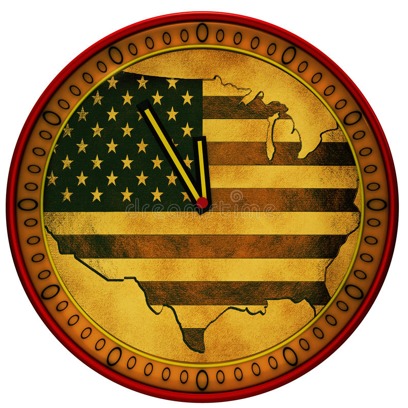 Clock with a flag of USA vector illustration