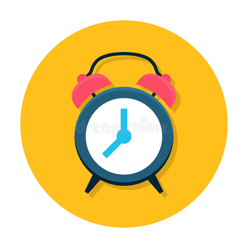 Clock flat icon. Classic alarm clock. Time, morning, hour or minute symbol. Web and mobile design element. Flat internet icon in rounded shape. Vector colored royalty free illustration