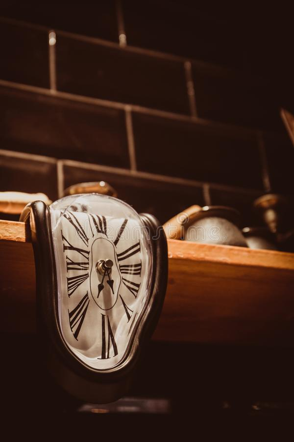 The clock flowed from the shelf stock photography