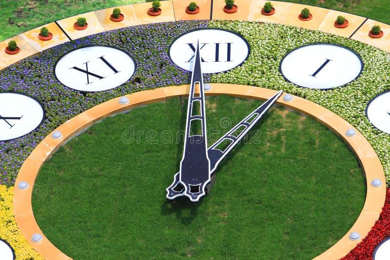 Clock flowerbed is estabished in Kiev stock photos