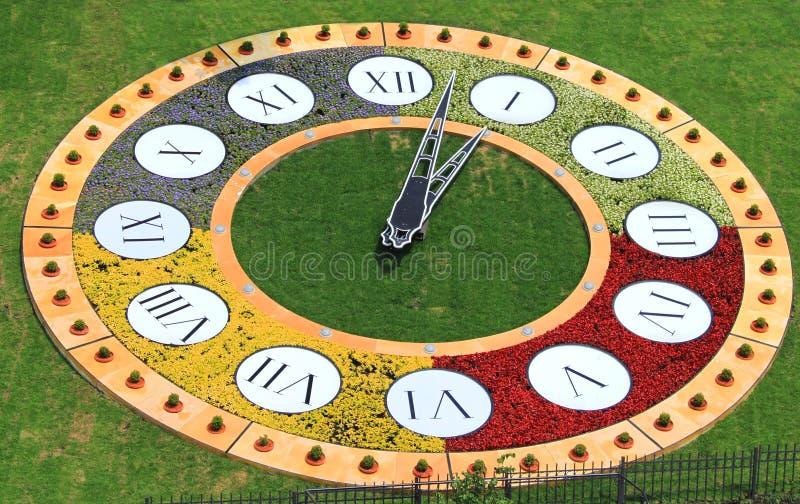 Clock flowerbed is estabished in Kiev stock images