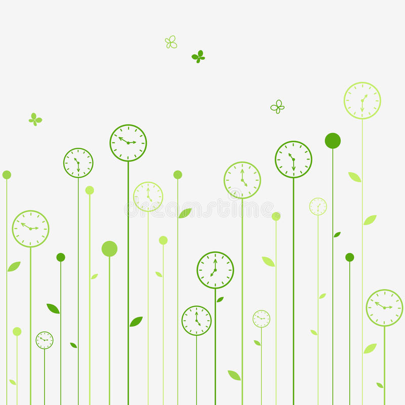 Clock flowers vector illustration