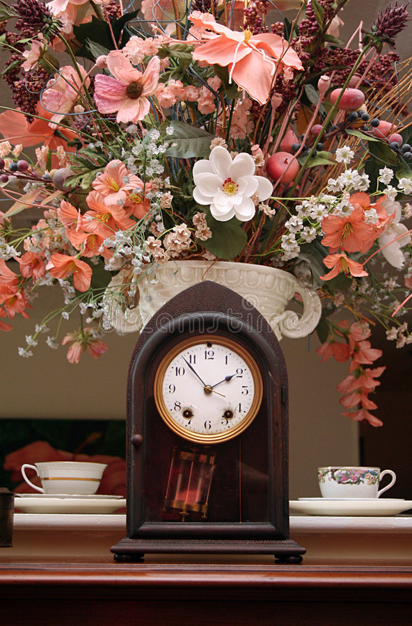 Download Clock and Flowers stock image. Image of house, chime, decoration - 6390745