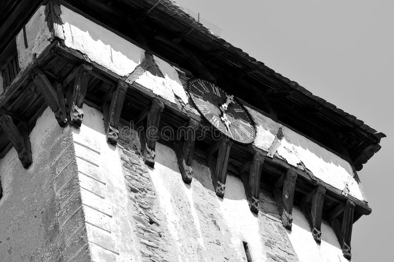 Clock of the fortified medieval saxon church in Veseud, Zied, is a village in the commune Chirpăr from Sibiu County. Veseud, Zied, a village in the commune royalty free stock photography