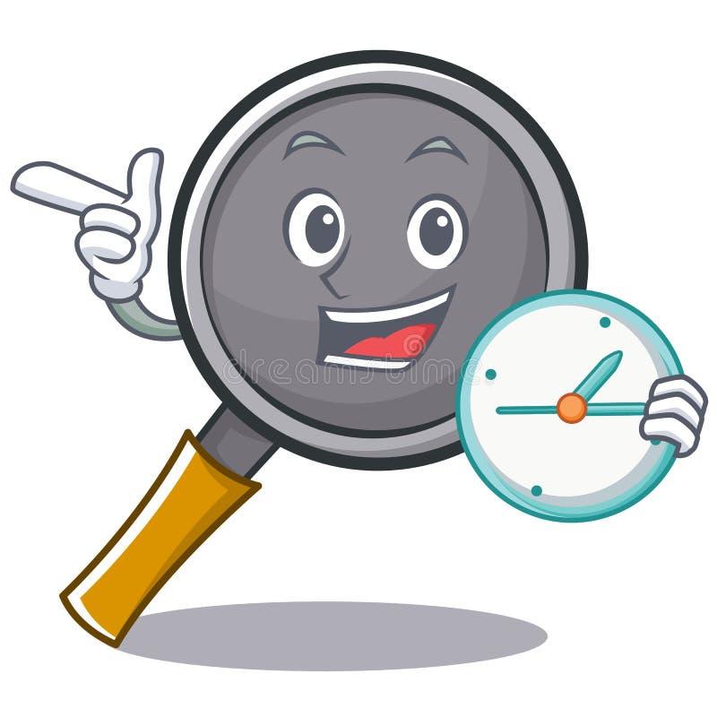 With clock frying pan cartoon character. Vector illustration stock illustration