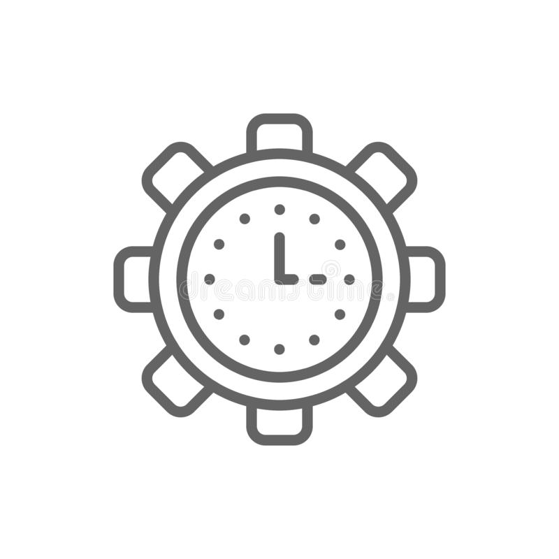 Clock in gear, tech watch, productivity, efficiency, time management line icon. vector illustration