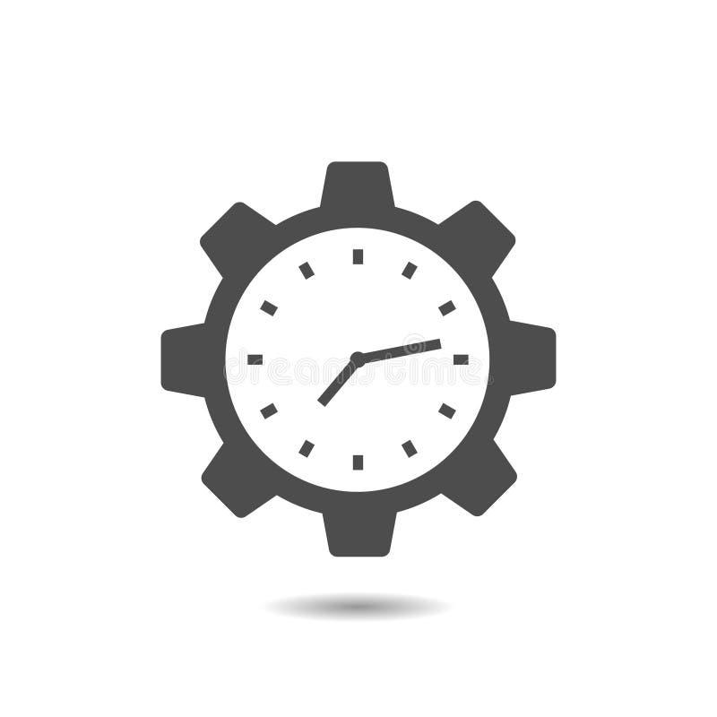 Clock Gear vector icon stock illustration