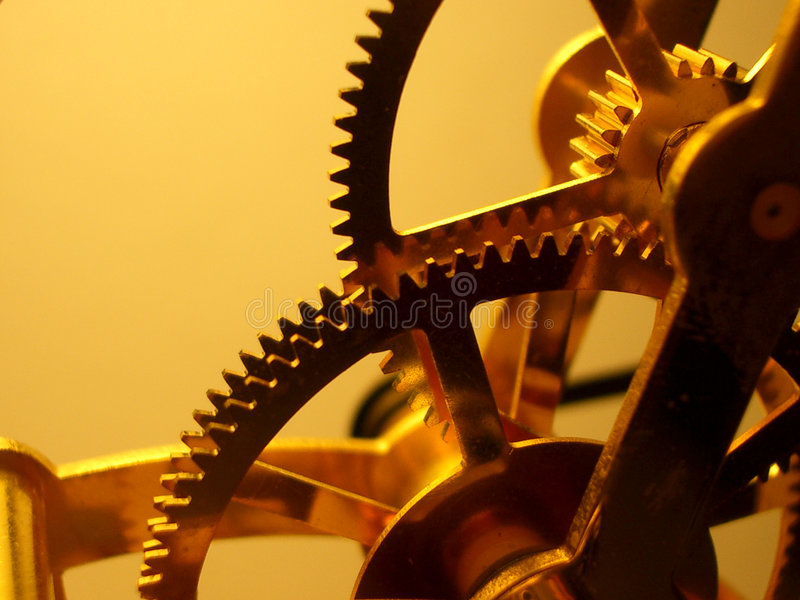 Download Clock Gears stock image. Image of golden, works, light - 421213