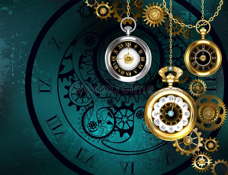 Clock with gears on green background royalty free illustration