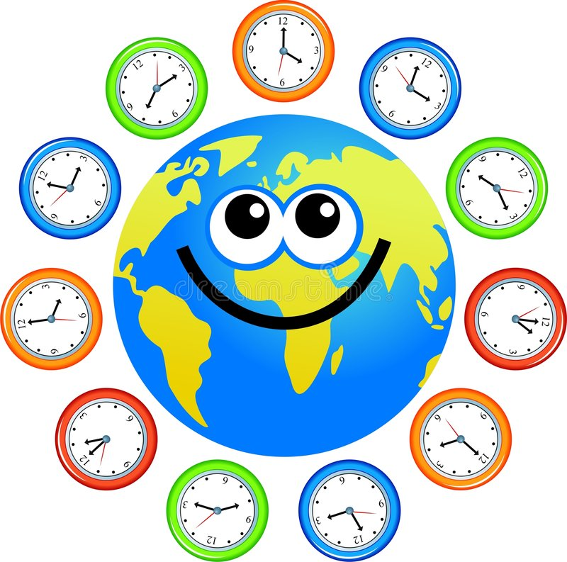 Clock globe. A cartoon world globe surrounded by clocks stock illustration