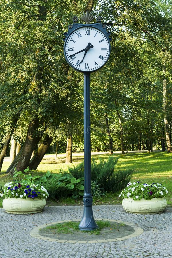 Clock in a green park outdoors near flower beds royalty free stock photo