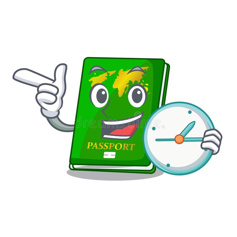 With clock green passport in the cartoon shape. Vector illustration vector illustration