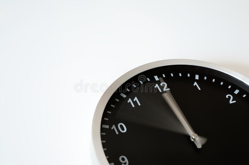 Clock hand moving to Midnight. Clock hand is moving from ten to midnight till midnight stock photos