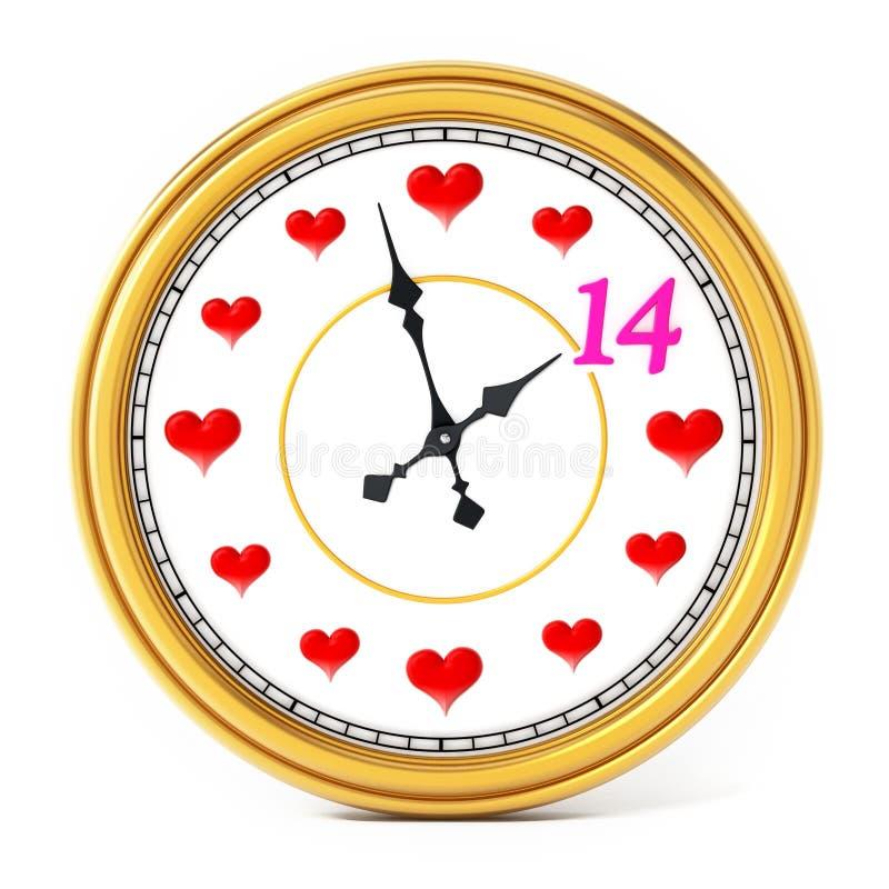 Clock hand pointing pink number 14. 3D illustration.  stock illustration