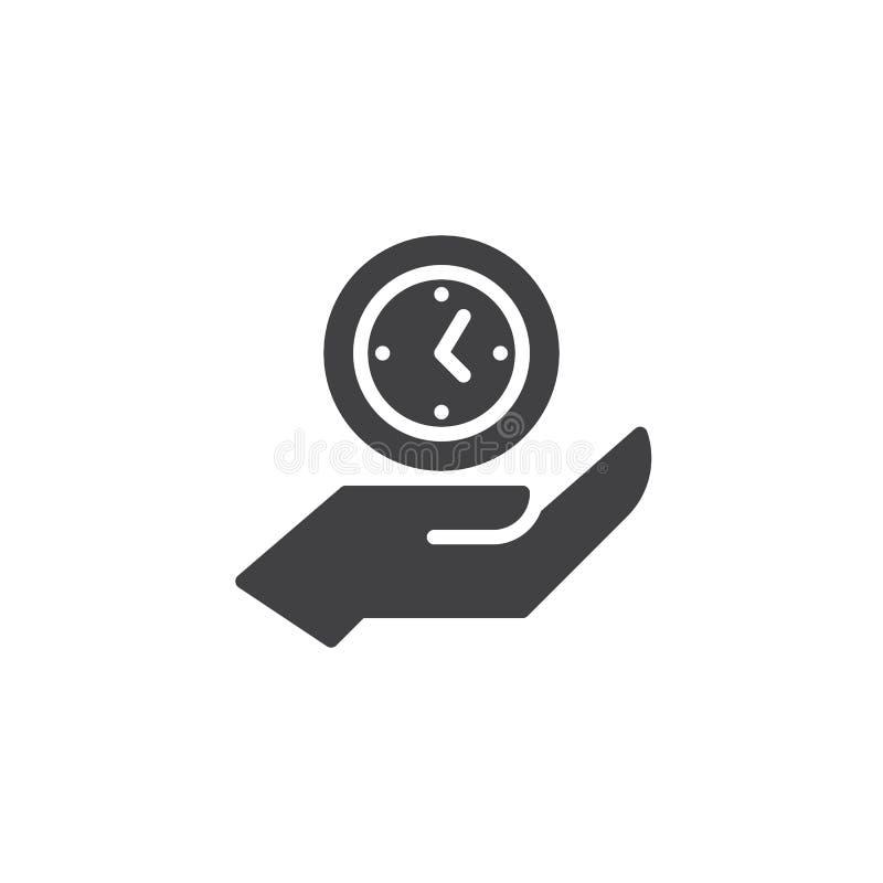Clock on hand vector icon royalty free illustration