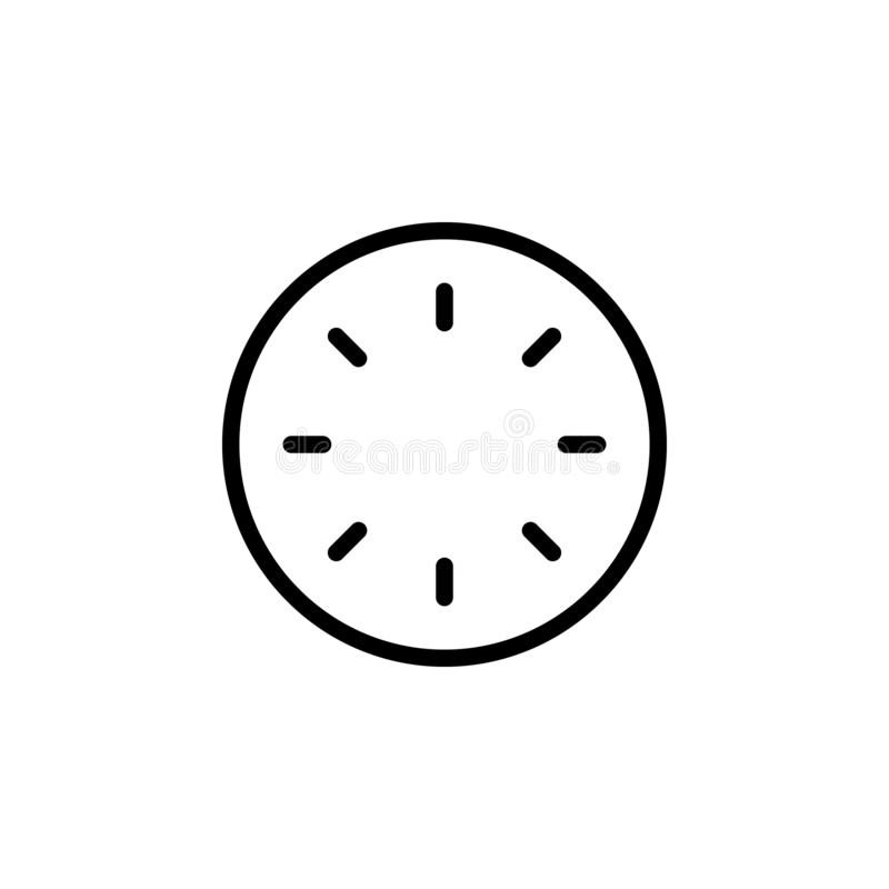 clock without hands icon. Simple thin line, outline vector of Time icons for UI and UX, website or mobile application stock illustration