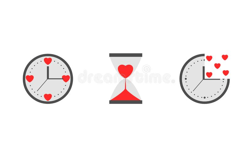 Clock with heart sign royalty free illustration