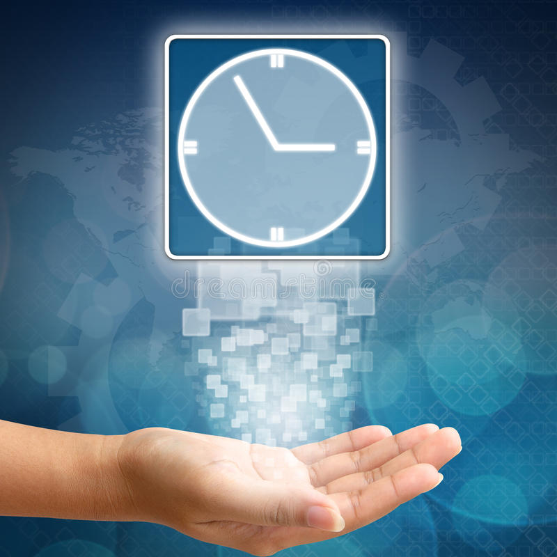 Download Clock Icon On Business Hand Royalty Free Stock Images - Image: 26459839