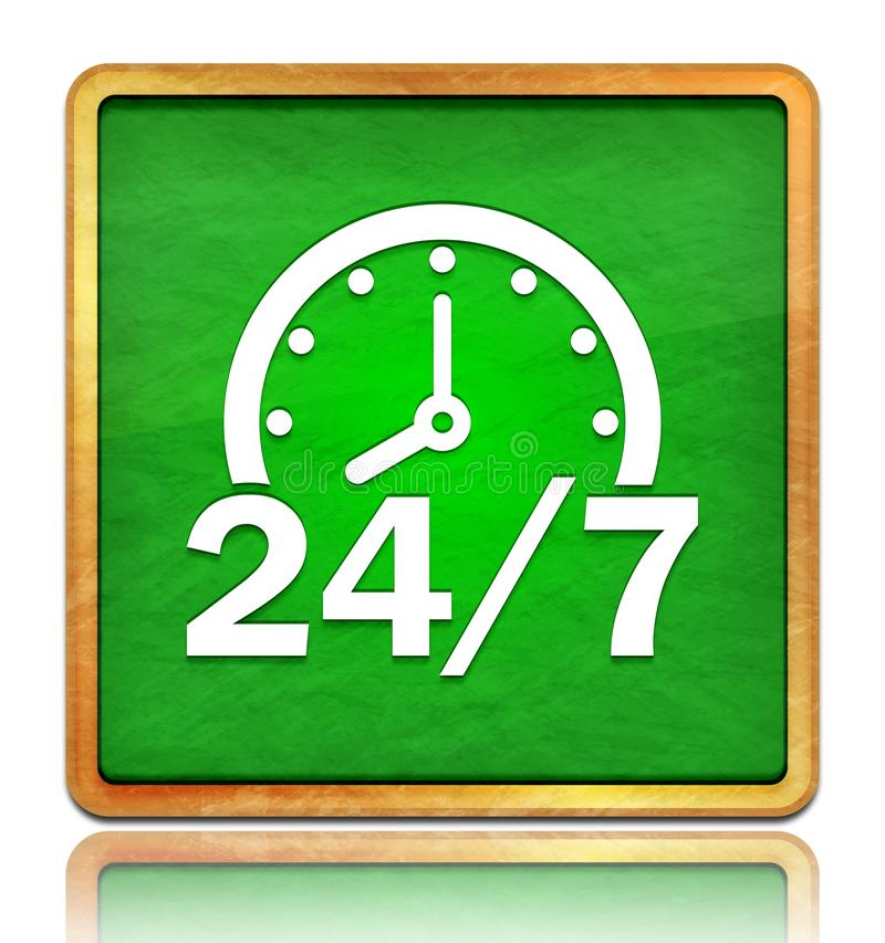 24/7 clock icon chalk board green square button slate texture wooden frame concept isolated on white background with shadow stock image