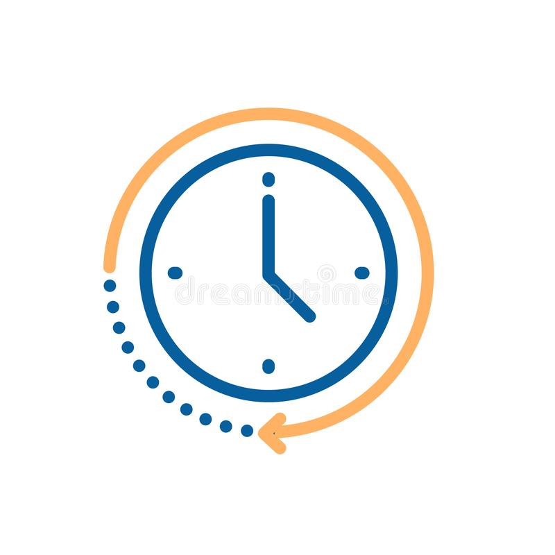 Clock icon with circular motion shape with arrow indicating passage of time. Vector illustration for concepts of time, progress,. Deadline, express delivery royalty free illustration