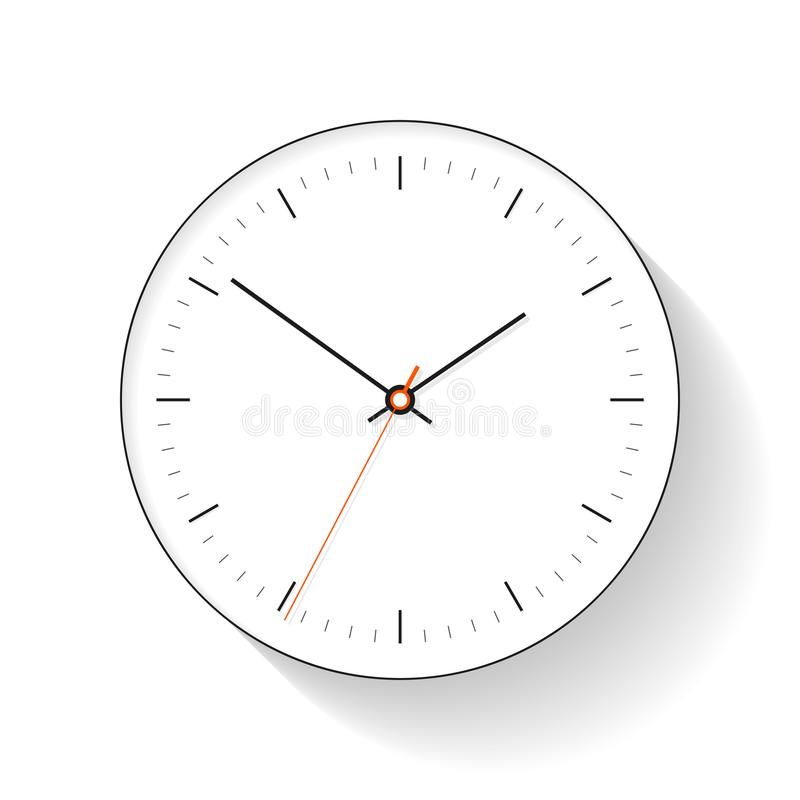 Clock icon in flat style, round simple timer on white background. Ten to two. Office watch. Vector design element for you business vector illustration