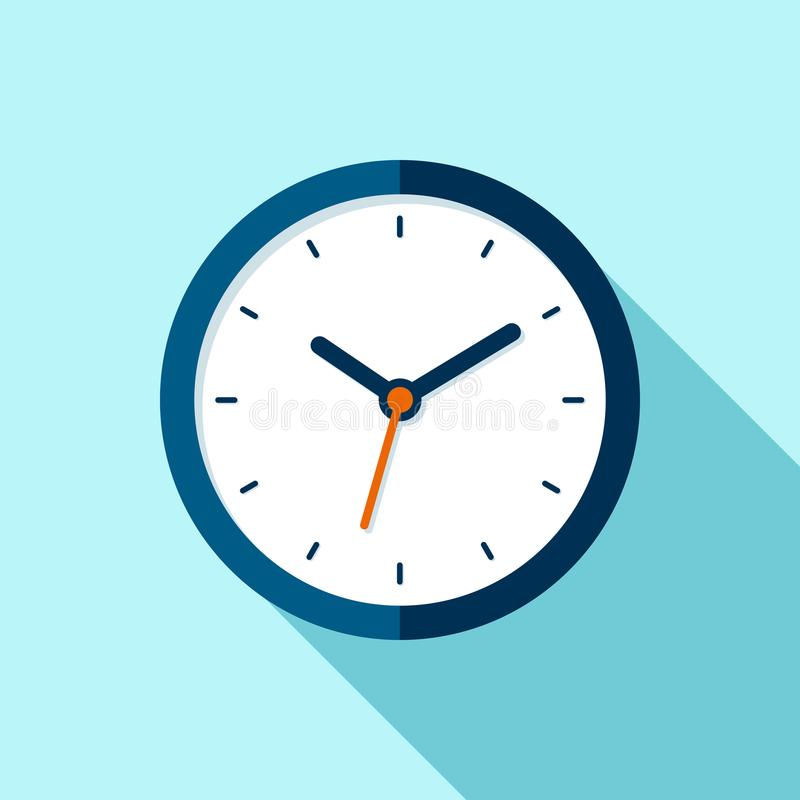 Clock icon in flat style, round timer on blue background. Business watch. Vector design element for you project stock illustration