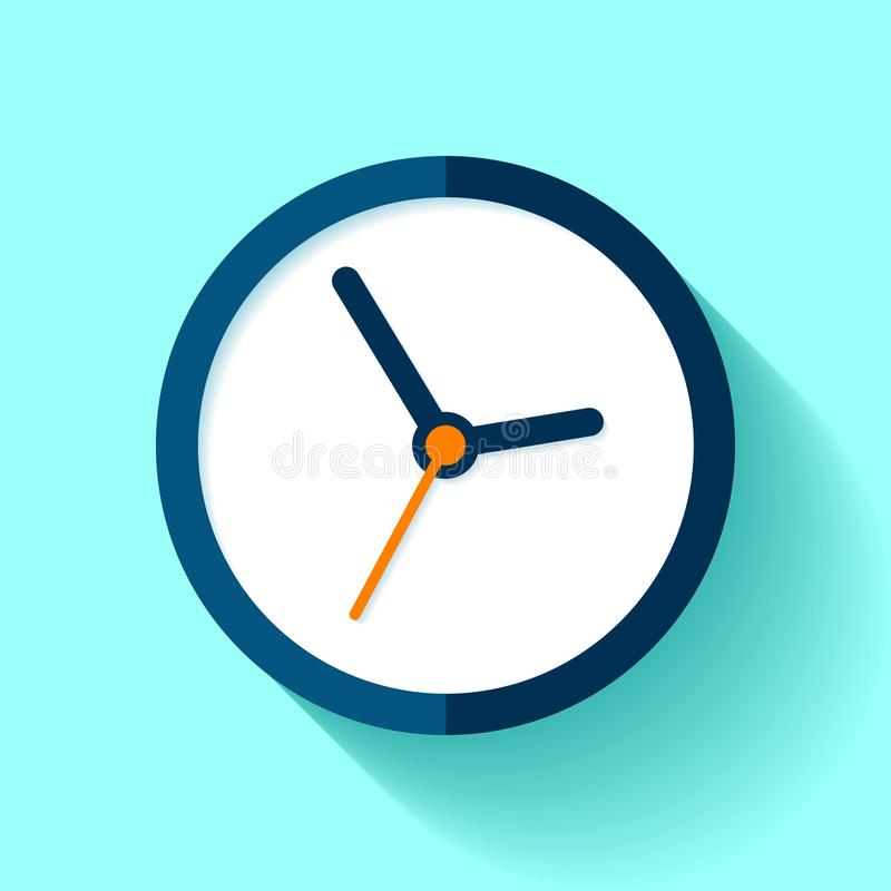 Clock icon in flat style, round timer on blue background. Simple business watch. Vector design element for you project royalty free illustration