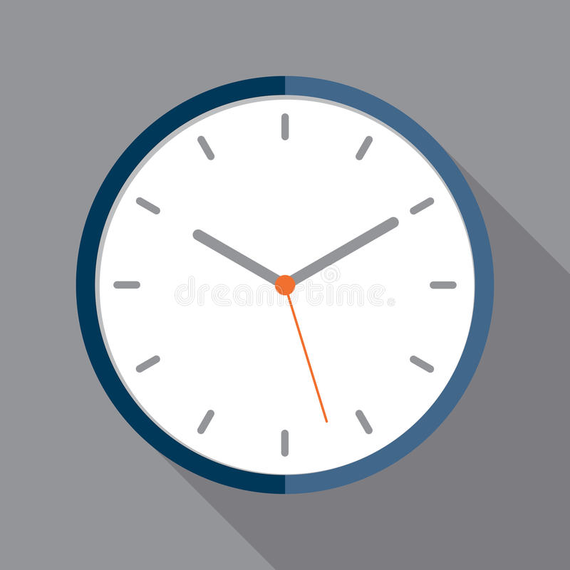 Clock icon in flat style stock photo