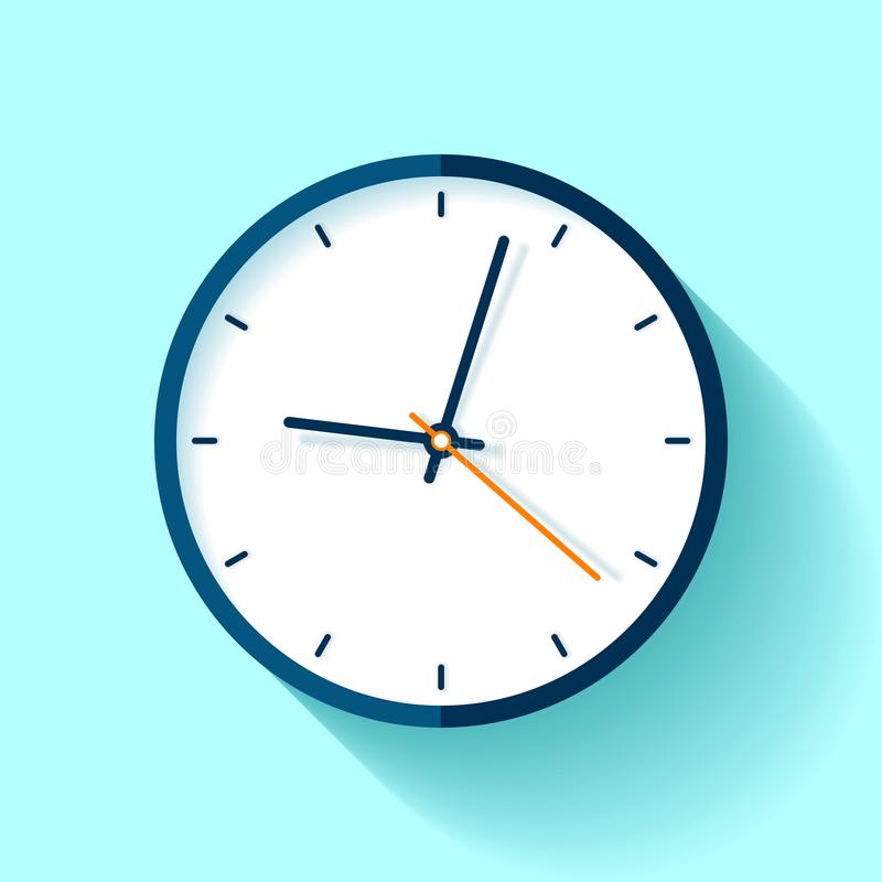 Free Clock Icon In Flat Style, Round Timer On Blue Background. Simple Watch. Vector Design Element For You Business Projects Stock Images - 120848654
