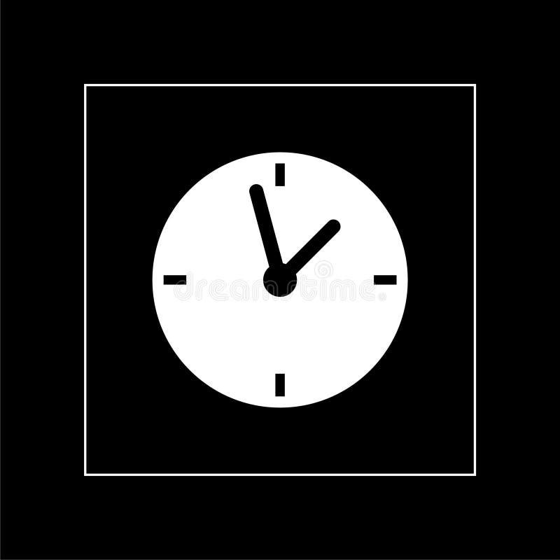 Clock icon isolated on dark background. Time symbol stock image