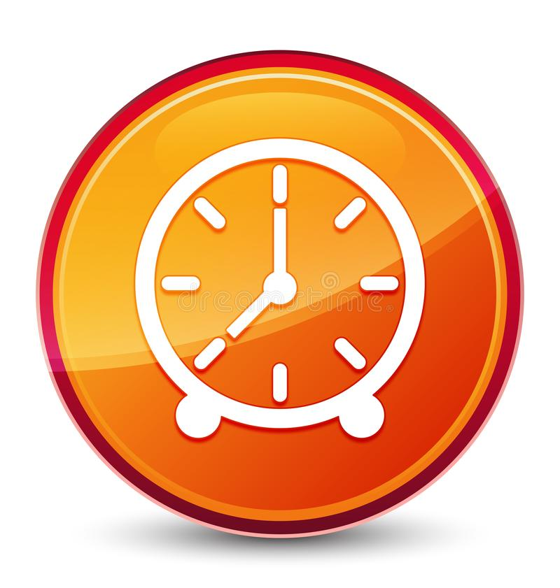 Clock icon special glassy orange round button. Clock icon isolated on special glassy orange round button abstract illustration royalty free illustration