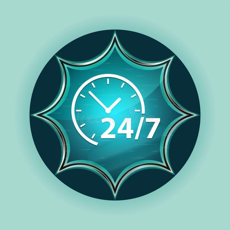 24/7 clock icon magical glassy sunburst blue button sky blue background stock image