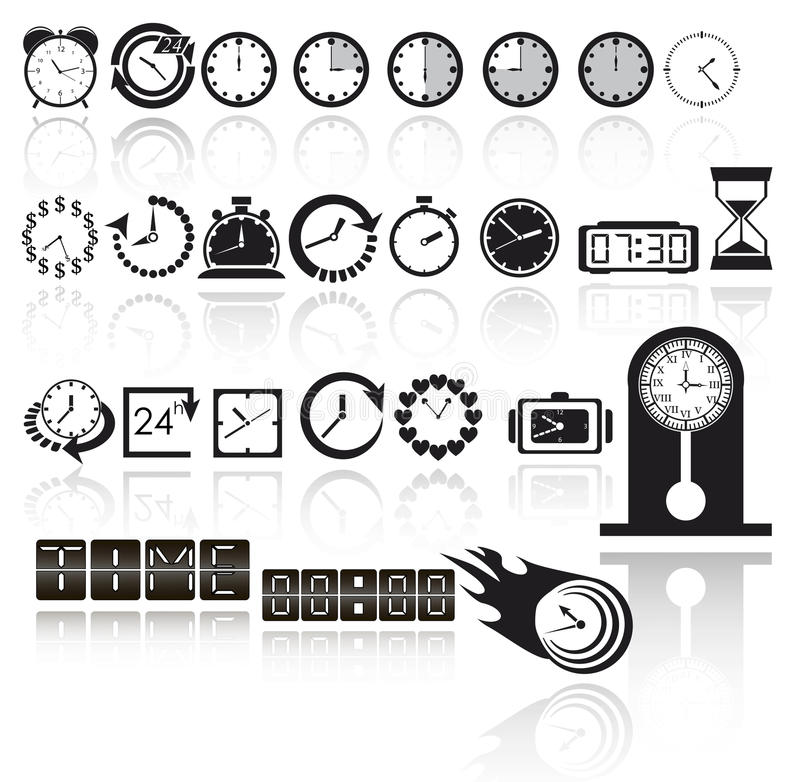 Clock icon set royalty free illustration