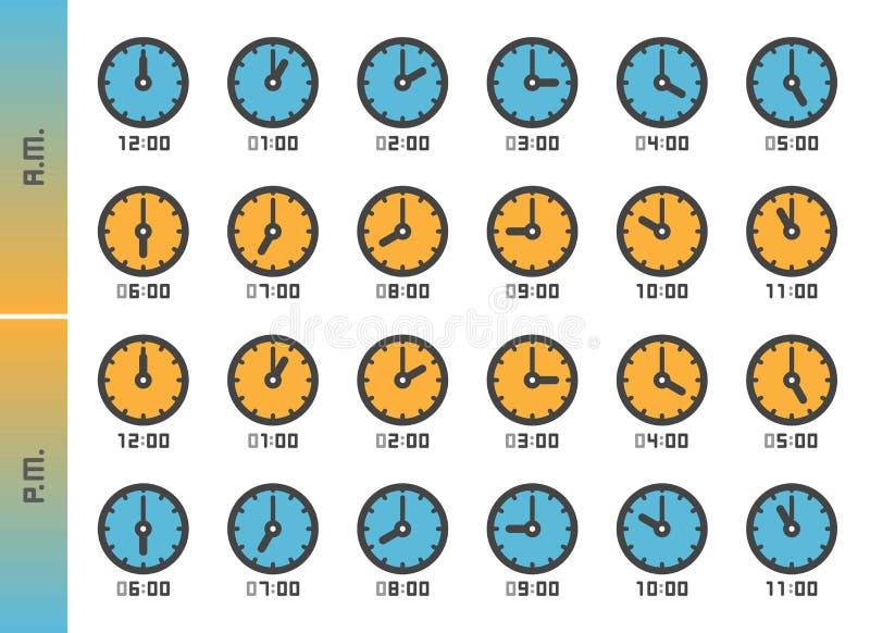 Clock icon set royalty free stock photo