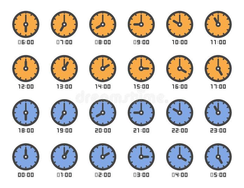 Clock icon set stock photo