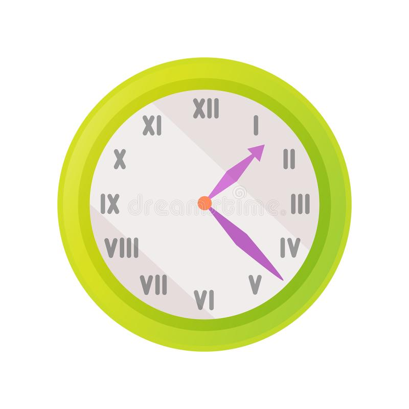 Clock Icon Showing Exact Time Vector Illustration. Isolated on white. Wall watch with roman numerals signs or rome figures, green time measurement device vector illustration