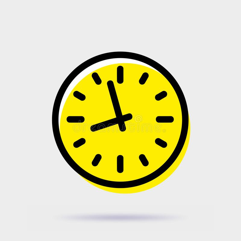Clock icon. Simple vector sign isolated on gray background stock illustration