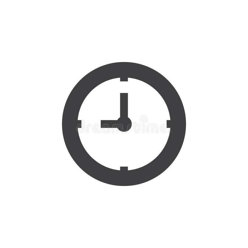 Clock icon , Time solid logo illustration, pictogram isola. Ted on white stock illustration