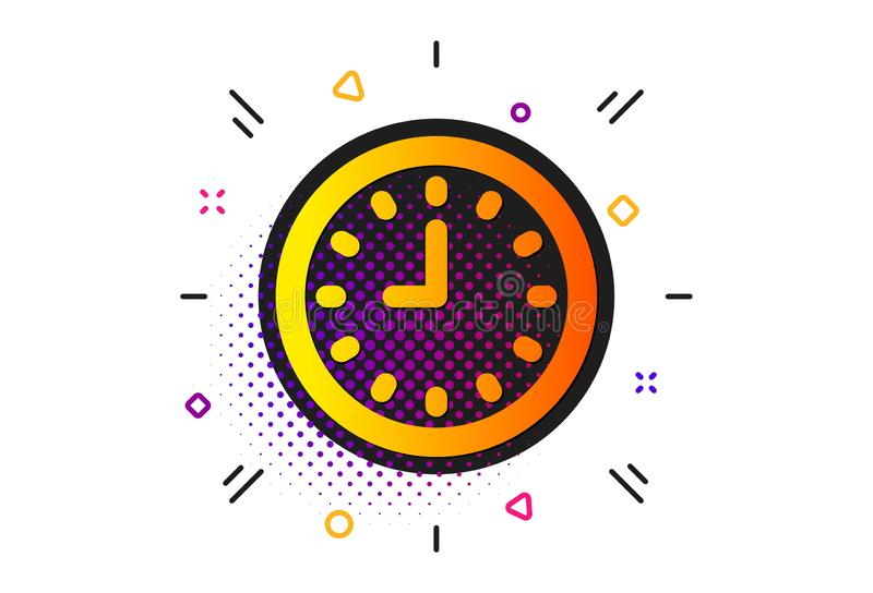 Clock icon. Time or Watch sign. Vector. Time sign. Halftone circles pattern. Clock icon. Office Watch or Timer symbol. Classic flat clock icon. Vector royalty free illustration