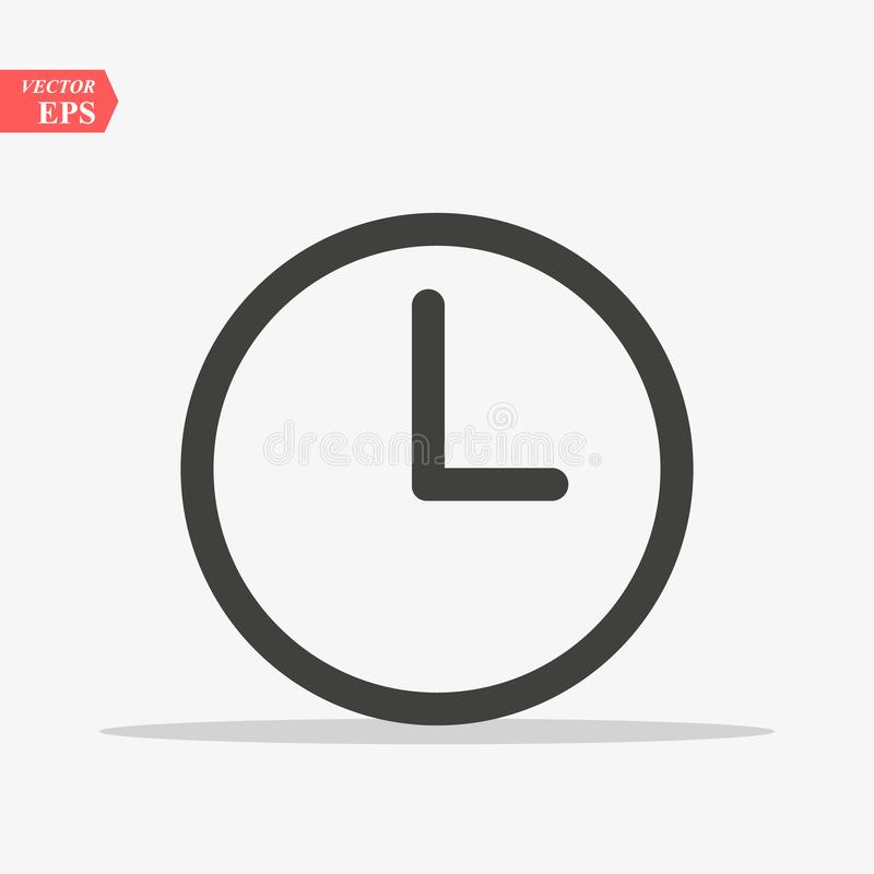 Clock icon in trendy flat style isolated on background. Clock icon page symbol for your web site design Clock icon logo vector illustration