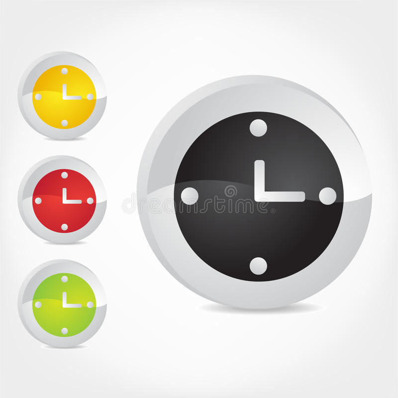 Download Clock Icons. stock vector. Image of shiny, yellow, series - 14587366