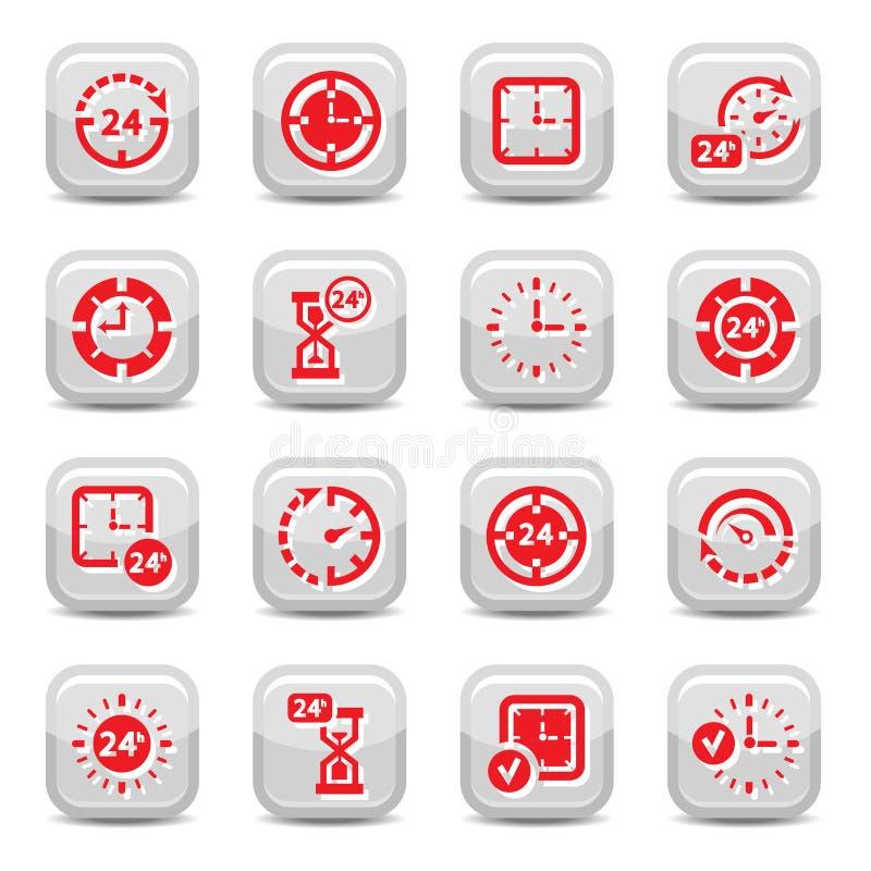 Clock icons set stock illustration